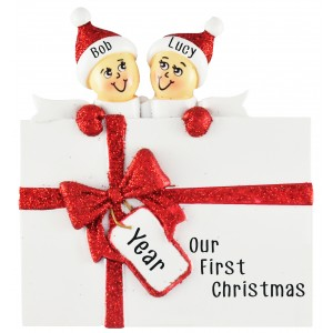 Surprise Gift Box Family of 2 Personalized Christmas Ornament