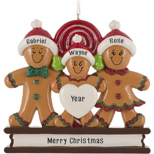 Gingerbread Love Family of 3 Personalized Christmas Ornament