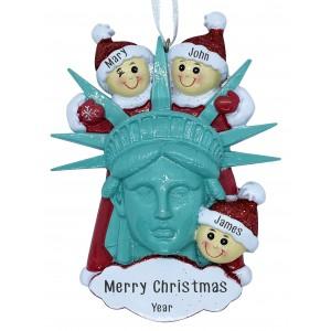 Statue Of Liberty Head W/3 Family Personalization Ornament