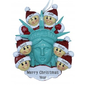 Statue Of Liberty Head W/6 Family Personalization Ornament