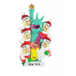 NYC Lady Liberty Family of 5 Personalized Christmas Ornament