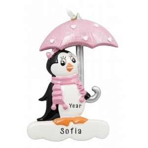 Penguin with Umbrella Pink Personalized Christmas Ornament