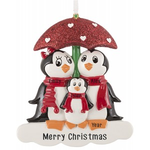 Penguin with Umbrella of 3 Personalized Christmas Ornament