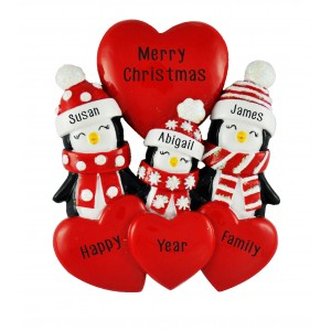 Penguin Love Family of 3 Personalized Christmas Ornament
