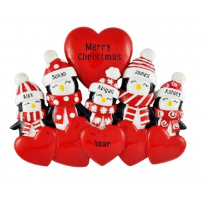 Penguin Love Family of 5 Personalized Christmas Ornament