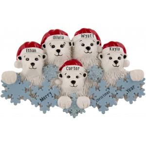 Polar Bear Snowflake Family of 5 Personalized Christmas Ornament
