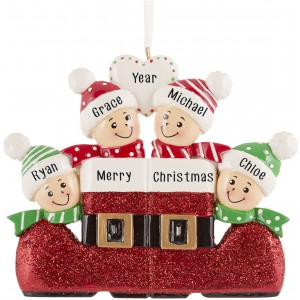Santa`s Boot Family of 4 Personalized Christmas Ornament