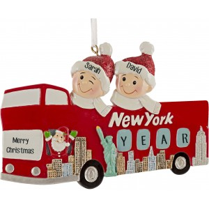New York Sightseeing Bus Couple Personalized Christmas Ornament