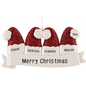 Santa Hat Family of 4 Personalized Christmas Ornament