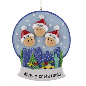 Snow Globe Family of 3 Personalized Christmas Ornament