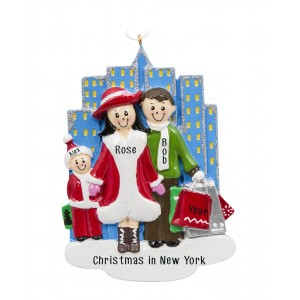 Shopping City Family of 3 Personalized Christmas Ornament