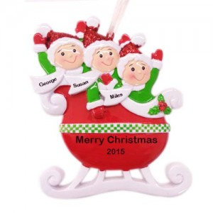 Red Family of 3 Taxi Sleigh Personalized Christmas Ornament
