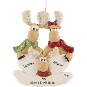 Sweet Moose Family of 3 Personalized Christmas Ornament