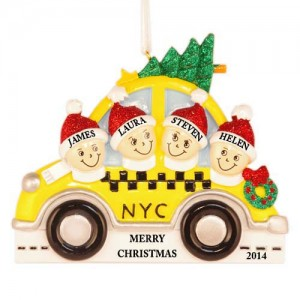 NYC Taxi Family of 4 Personalized Christmas Ornament