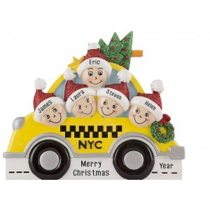 NYC Taxi Family of 5 Personalized Christmas Ornament