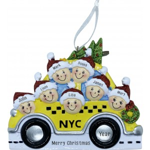 NYC Taxi Family 7 Personalized Christmas Ornament