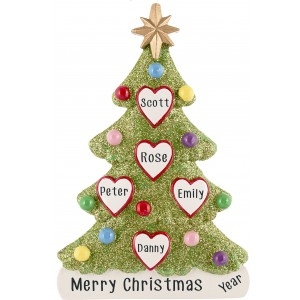 Tree Love Family of 5 Personalized Christmas Ornament