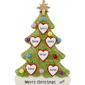 Tree Love Family of 6 Personalized Christmas Ornament