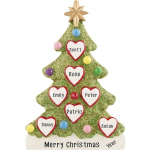Tree Love Family of 7 Personalized Christmas Ornament