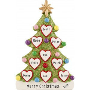 Tree Love Family of 9 Personalized Christmas Ornament