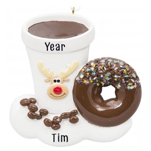 Reindeer Coffee Personalized Christmas Ornament