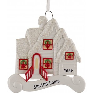Merry House White Personalized Christmas Ornament