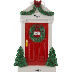 Merry Door Red Personalized Christmas Ornament