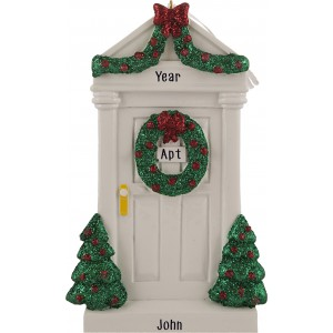 Merry Door White Personalized Christmas Ornament