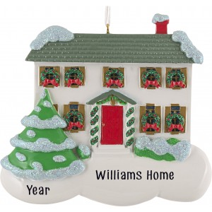 Holly House White Personalized Christmas Ornament