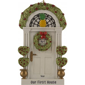 Door With Heart Topiaries White Personalized Christmas Ornament