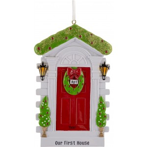 Christmas Door - Red Personalized Christmas Ornament