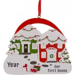 Neighbors Doors Personalized Christmas Ornament