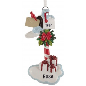 Merry Mail Box White Personalized Christmas Ornament