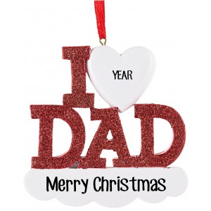I Love Dad Personalized Christmas Ornament
