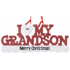 I Love My Grandson Personalized Christmas Ornament