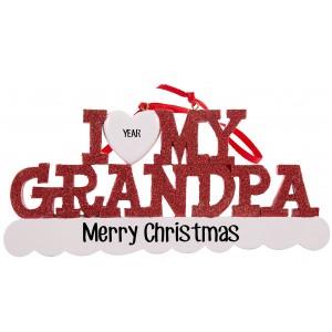 I Love My Grandpa Personalized Christmas Ornament