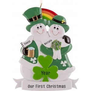 Irish Snowman Couple Personalized Christmas Ornament