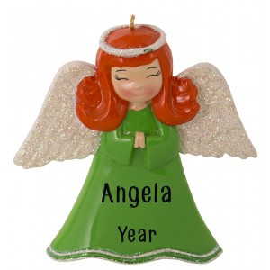 Angel Girl Green Personalized Christmas Ornament