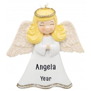 Angel Girl Ivory Personalized Christmas Ornament