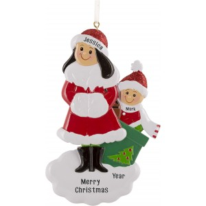 Single Mom With 1 Child Personalized Christmas Ornament