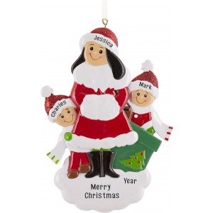 Single Mom With 2 Children Personalized Christmas Ornament