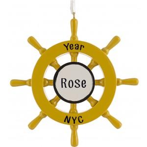 Ship Wheel Personalized Christmas Ornament