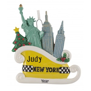 Taxi Sleigh Personalized Christmas Ornament