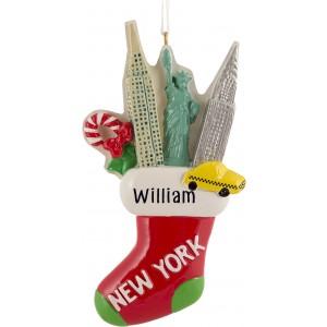 NY Stocking Personalized Christmas Ornament