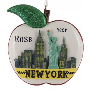 NY City Apple Personalized Christmas Ornament