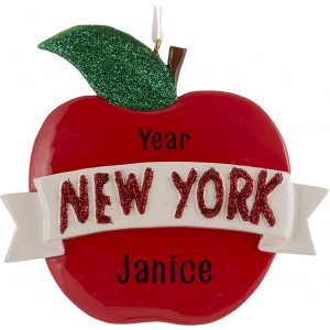 NY Apple with Banner Personalized Christmas Ornament