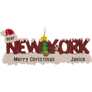 New York Word Personalized Christmas Ornament