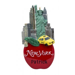 New York on Apple Personalized Christmas Ornament