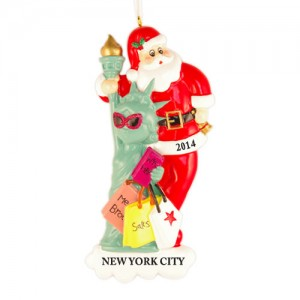 Santa with Statue of Liberty Personalized Christmas Ornament