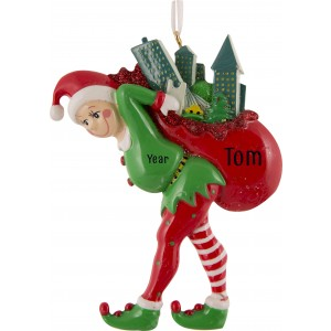 Elf Carrying The City Personalized Christmas Ornament